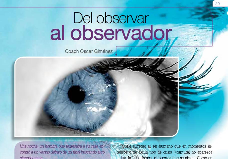 Del Observar al Observador en la Revista Coaching Hoy