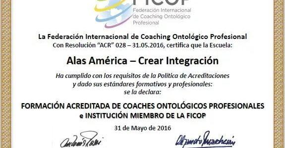 Acreditación FICOP a CONSULTORA ALAS